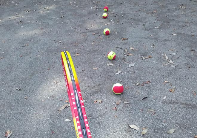 ボールを地面に並べる